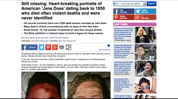 http://www.dailymail.co.uk/femail/article-2984990/Irish-artist-publishes-portraits-dead-missing-women-Jane-Doe-Blink-project.html